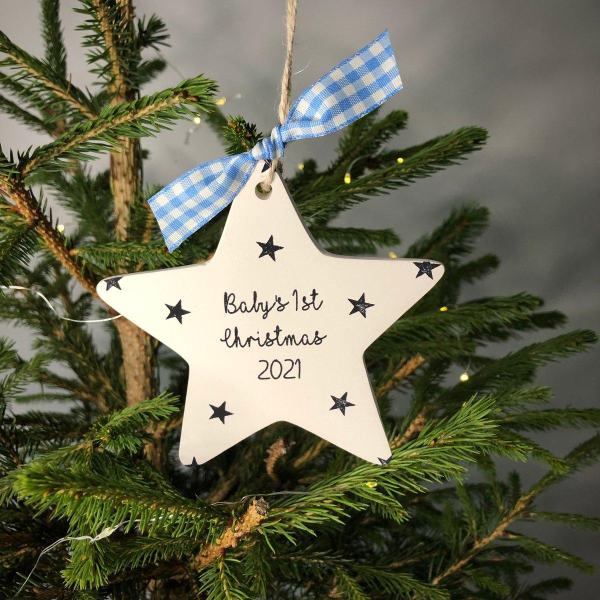 Image of Baby's 1st Christmas 2021 Ceramic Star
