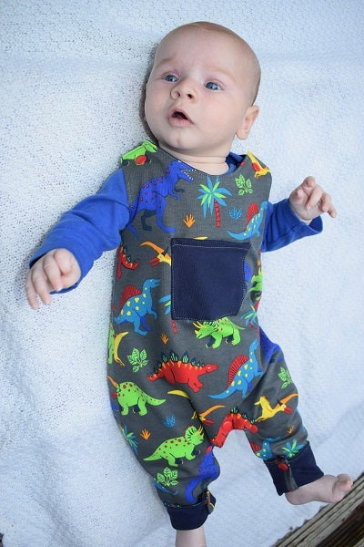 Image of Baby Reversible Jersey Dungarees - Dinosaurs
