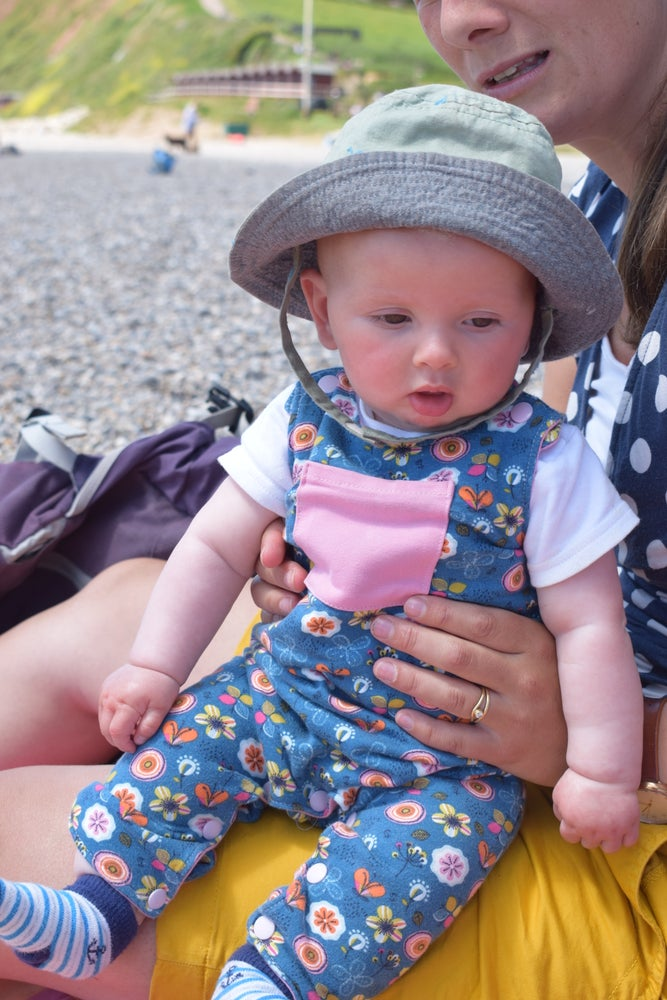 Image of Baby Reversible Jersey Dungarees - Flowers