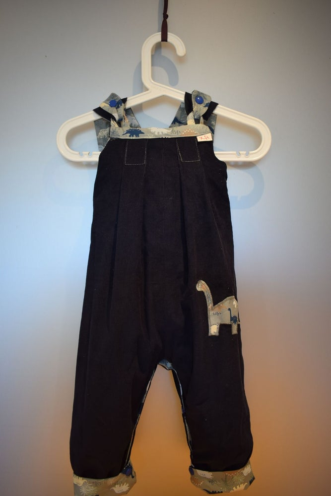 Image of Baby Reversible Dungarees - dinosaurs