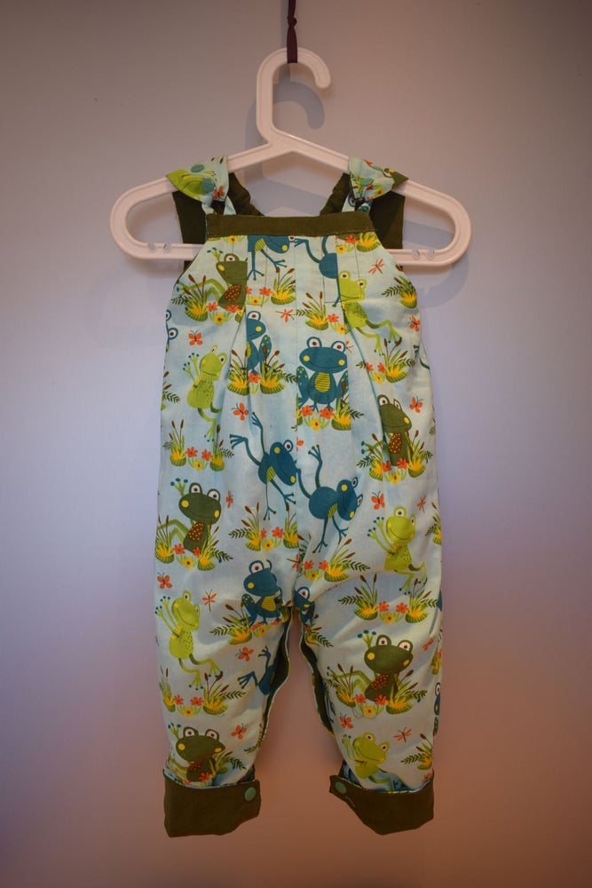 Image of Baby Reversible Dungarees - Frogs