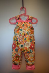 Image of Baby Reversible Dungarees - Pink Spot