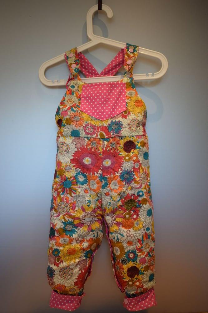 Image of Toddler Reversible Dungarees - Pink spot