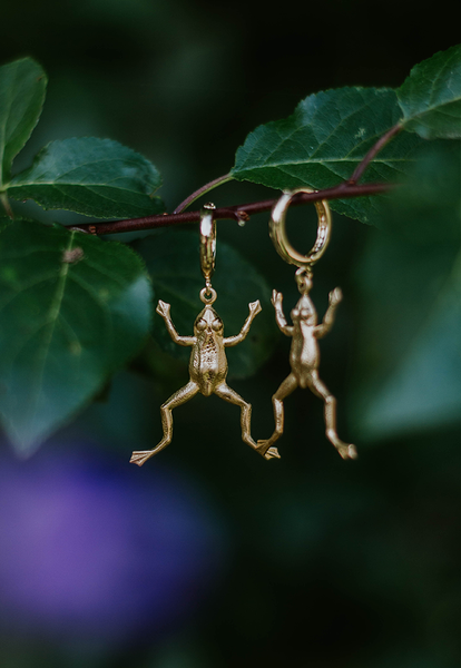 Image of Froggy 18k Gold Plated Huggie Hoops