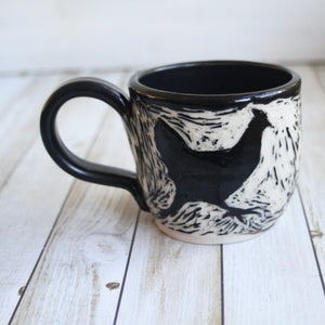 Image of Reserved for Donna - Set of Four Black and White Chickens Sgraffito Mugs, 12 oz., Made in USA