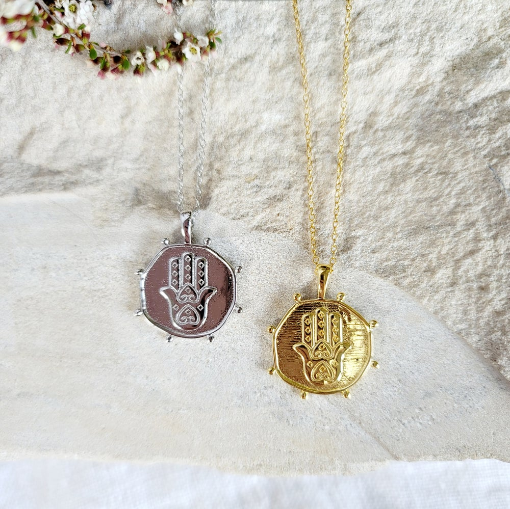 Image of HAMSA HAND COIN NECKLACE - Gold and Sterling Silver