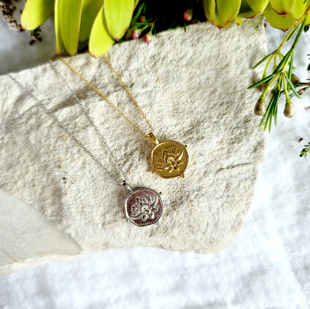 Image of LOTUS COIN NECKLACE - Gold or Sterling Silver