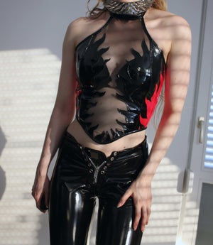 Image of FLAME MESH CORSET NECKHOLDER TOP (Size XS/S/M)
