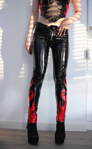 Image of KULTCHEN  HEAVY ZIPPER PVC PANTS WITH FLAMES (Size S)