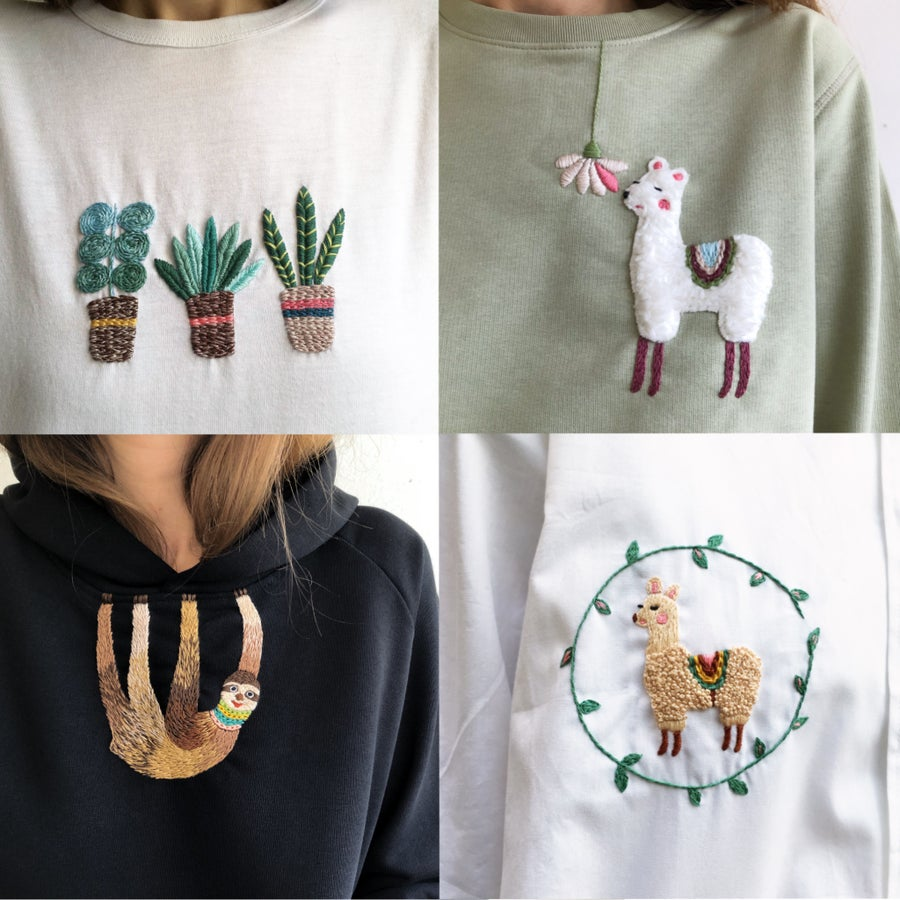 Image of 4 patterns together - Hand embroidery school w. Damaja // Clothing patterns with video tutorials