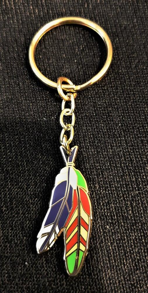 Image of Vietnam Veteran Purple Heart Warriors Feathers Key Ring