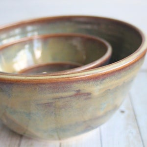 Image of Set of Three Ceramic Nesting Bowls in Sage Green and Brown Glazes, Handcrafted Stoneware Pottery USA