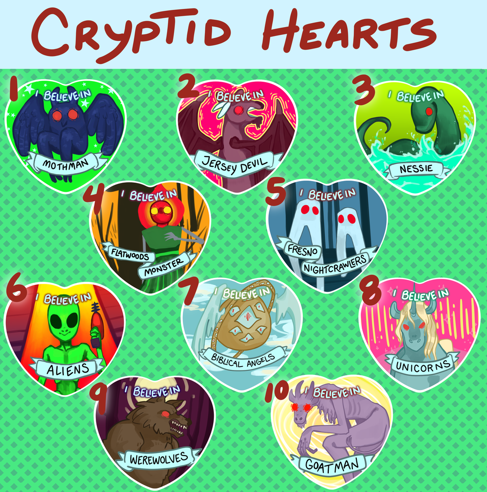 Cryptid Heart Buttons!