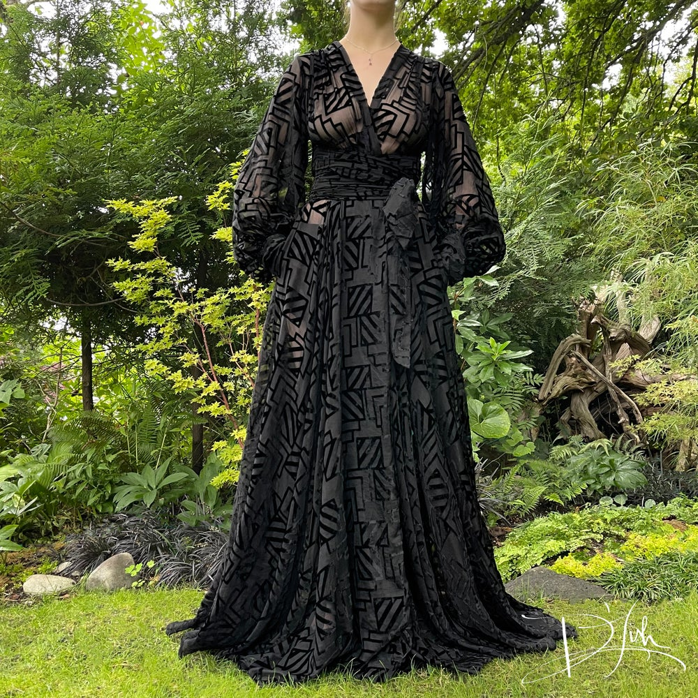 """Image of Black Burnout Velvet """"Beverly"""" Dressing Gown w/ Crystal Buttoned Cuffs"""