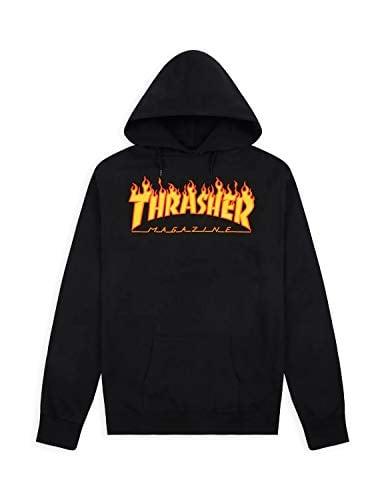 SUDADERA THRASHER FLAME YOUTH HOOD BLACK