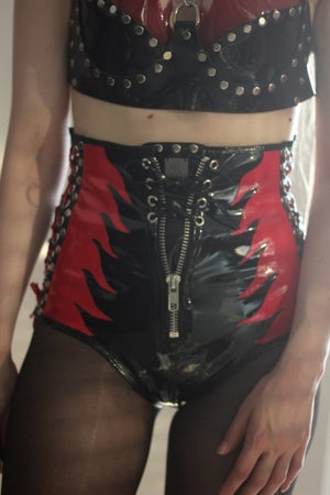 Image of FLAME LACE UP ZIPPER PVC HOTPANTS (Size S)