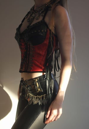Image of INDIAN SUMMER RED GENUINE LEATHER KELIM CORSET TOP (Size XS/S/M)