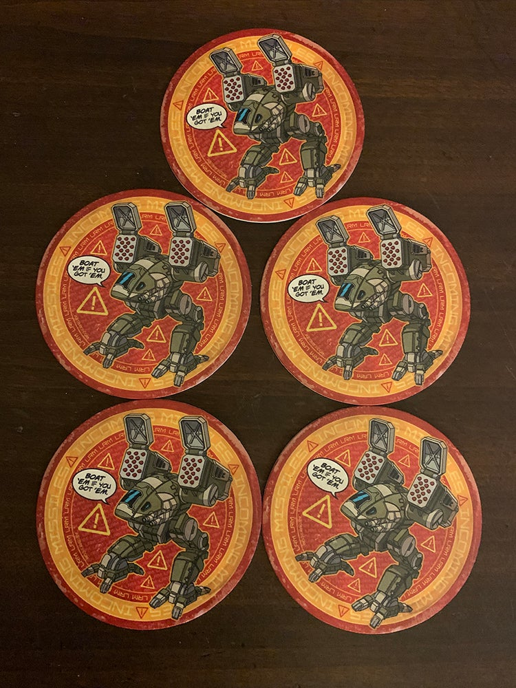 Image of 5 Catapult drink coasters!