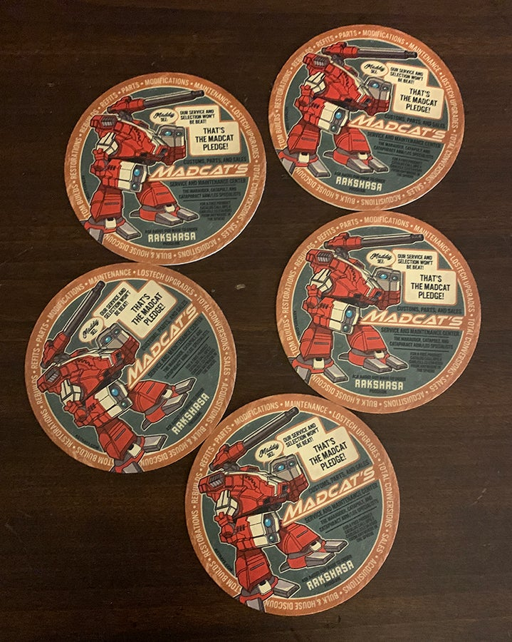 Image of 5 Madcat's garage drink coasters!