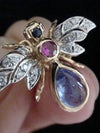 STUNNING 18CT YELLOW GOLD CABOCHON TANZANITE RUBY & DIAMOND FLY INSECT EARRINGS