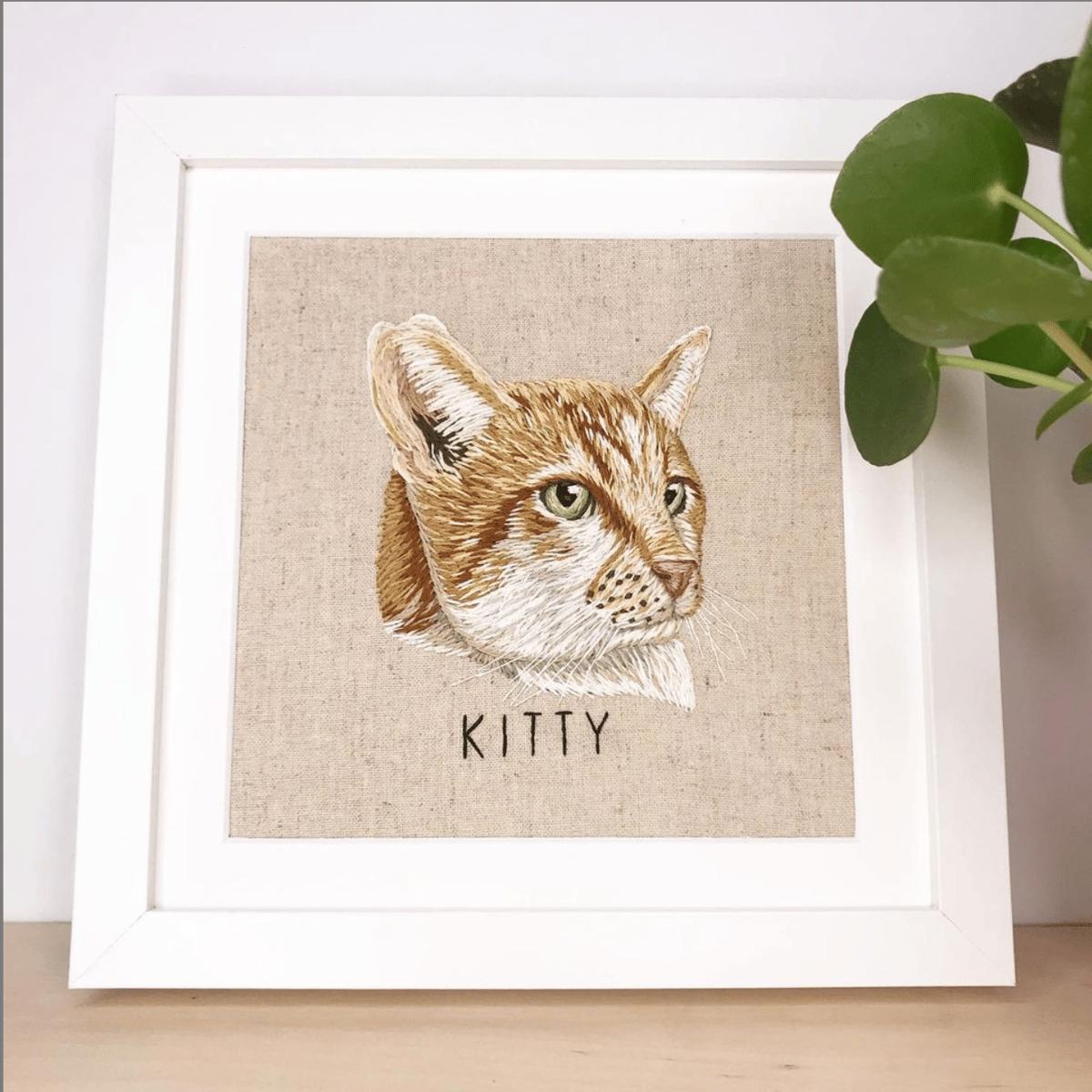 Custom Hand Embroidered Pet Portrait - FRAMED