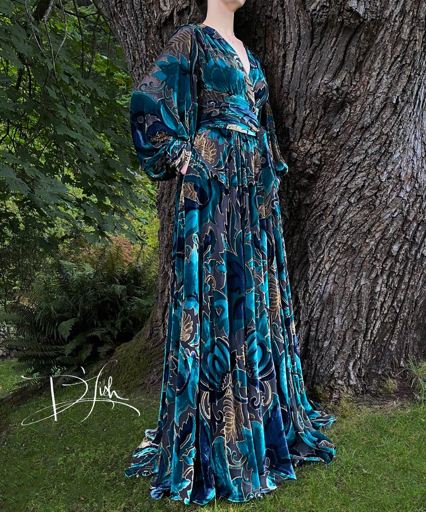 """Image of Teal Silk Velvet Burnout """"Beverly"""" Dressing Gown w/ Crystal Button Cuffs"""