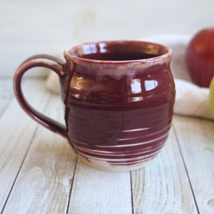 Image of Pottery Mug in Deep Red Glaze, 15 oz. Handcrafted Coffee Cup, Made in USA