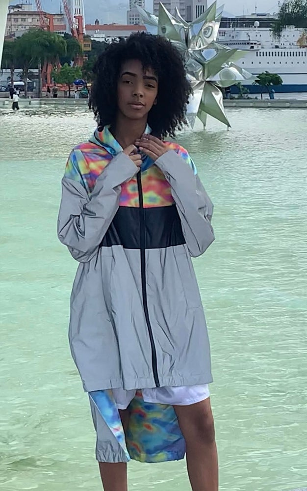 Image of Long Light Reflective Windbreaker with solar flare print