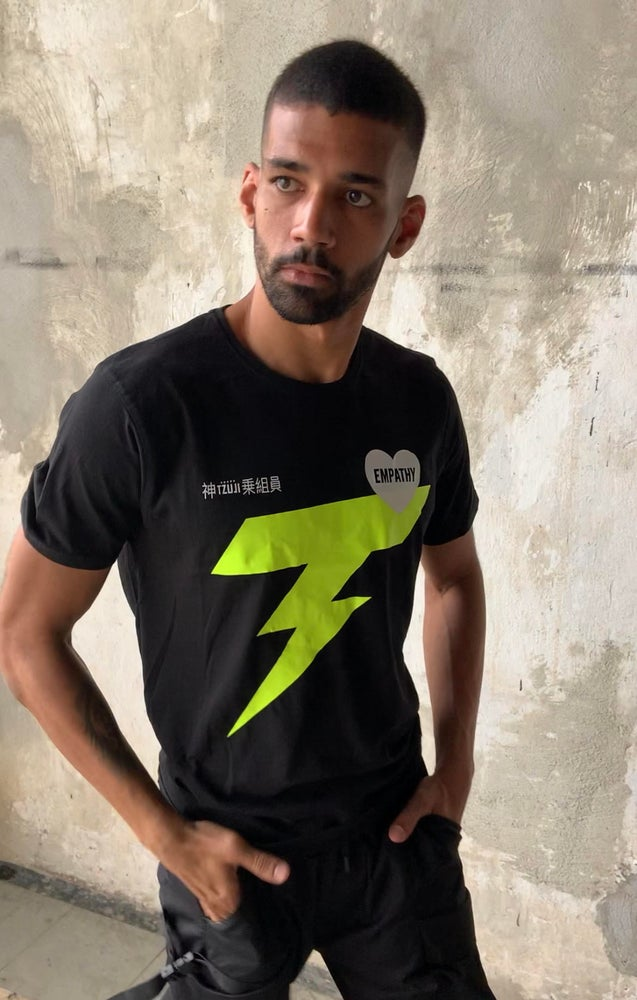 Image of Empathy Tee in black with lightning bolt