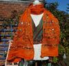 PAROS embroidered scarf pashima ORANGE
