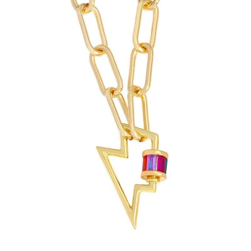 Gold Lightning Bolt Necklace (Fashion Jewelry)