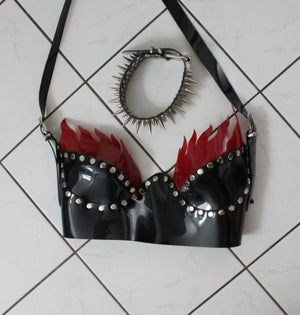 Image of ON SALE --- FLAME STUDDED PVC BRALETTE (Size S/M)