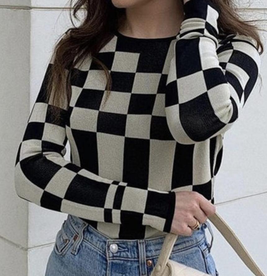 Image of KC Checkered Knit Sweater