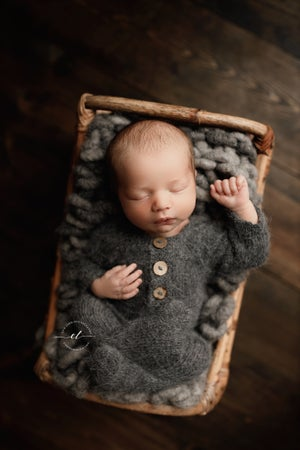 Image of Footed Romper and Bonnet Set - GRAY