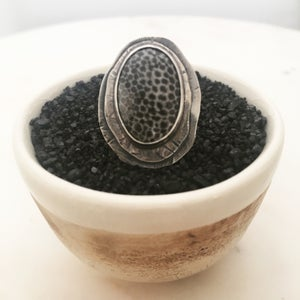 Image of Fossilized Coral & Silver Ring #1