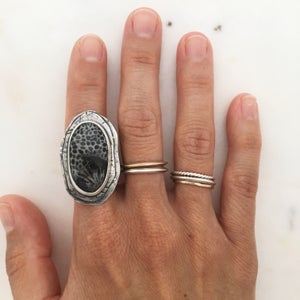 Image of Fossilized Coral & Silver Ring #2