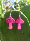 Mini Pink Sparkle Shroomie Earrings