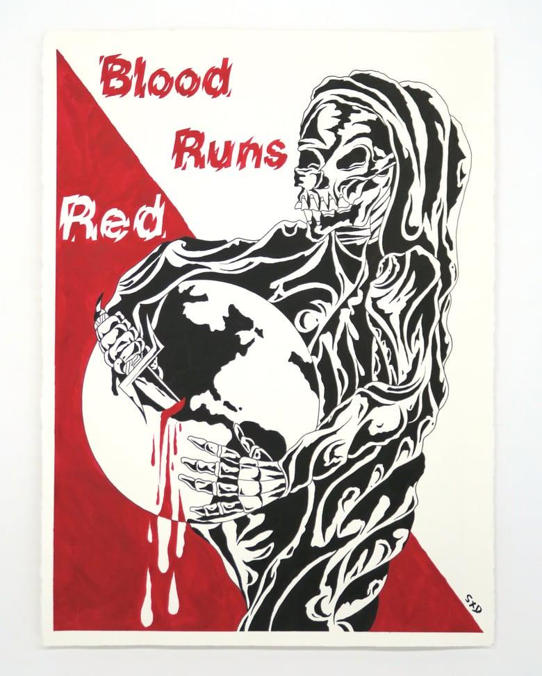 Image of SpiderXdeath 'Blood Runs Red' - Original artwork 2021