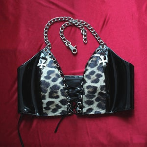 Image of MADE TO ORDER - KULTCHEN TWO TONE LACE UP VEST TOP IN BLACK PVC AND LEOPARD (Size XS-XL)