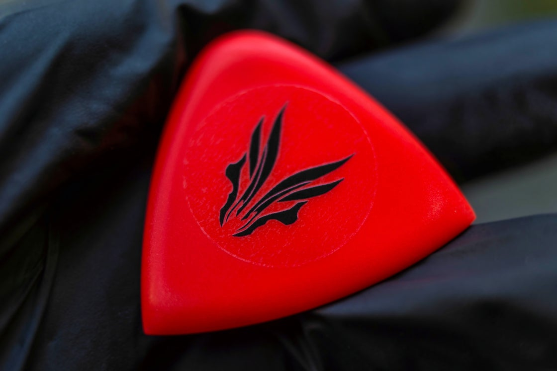 Image of NEW: 4mm 'Red LAVA GLOW' plectrums