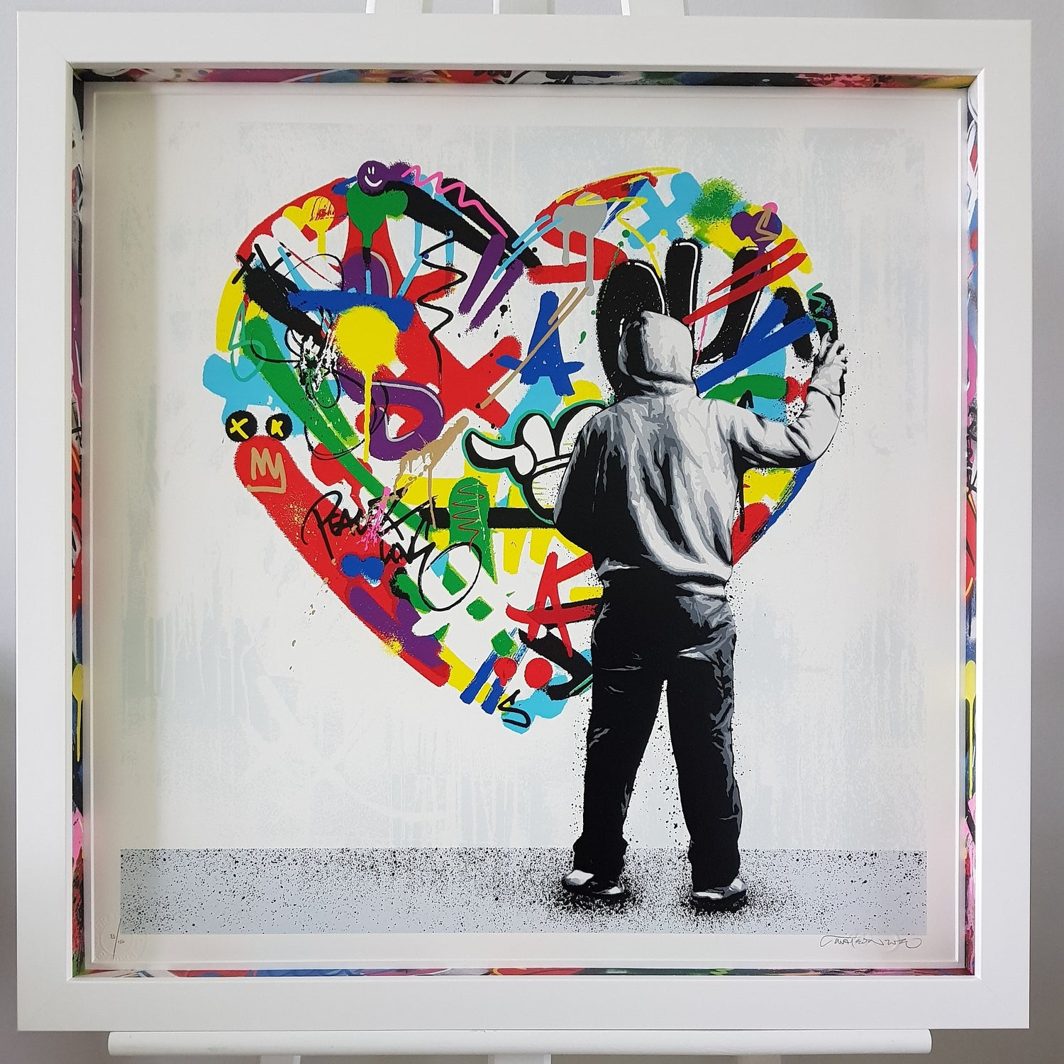 """Image of MARTIN WHATSON """"PAINT LOVE"""" & """"MAKE LOVE"""" - FRAMED WITH CUSTOM SPACERS  - 55CM X 55CM"""