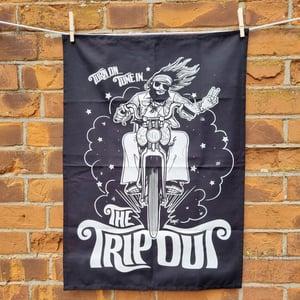 Image of Tea Towel biker black