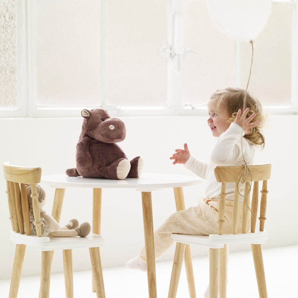 Image of WHITE & WOOD TABLE & CHAIR SET - ***PRE-ORDER FOR DELIVERY AFTER 1st NOVEMBER***