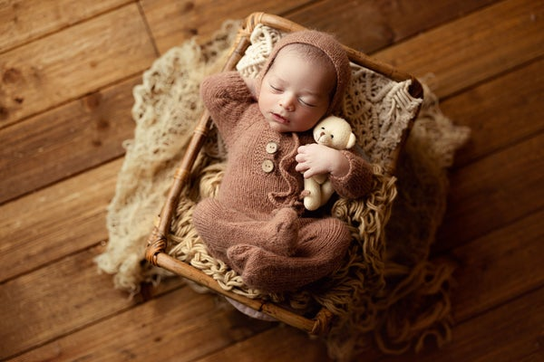 Image of Footed Romper and Bonnet Set - BROWN