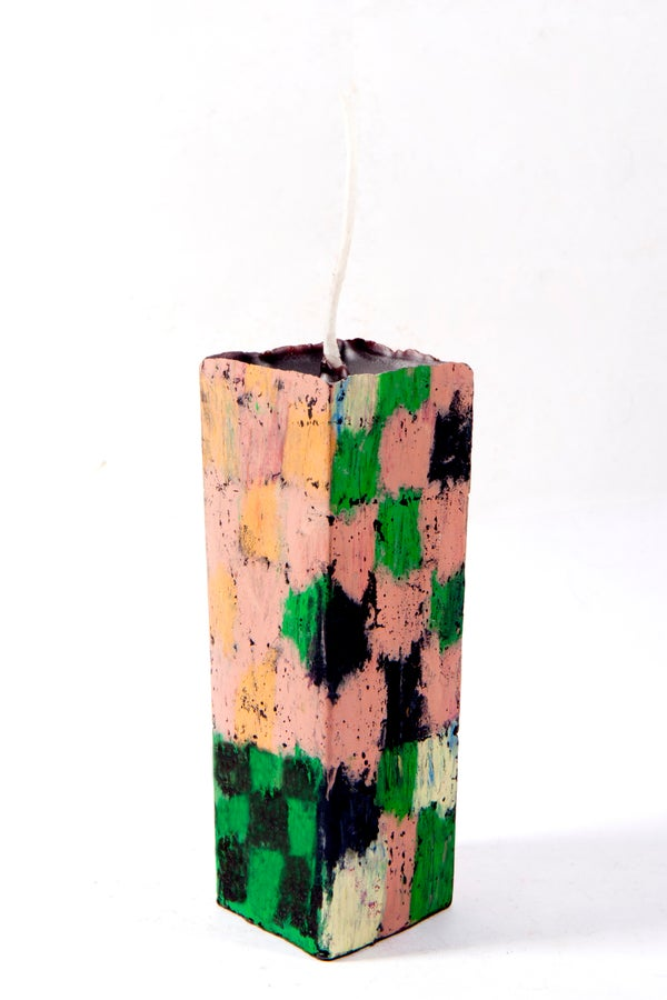 Image of Mid Stack Tower in clay pink, red, black, orange, brown, green, & soft yellow