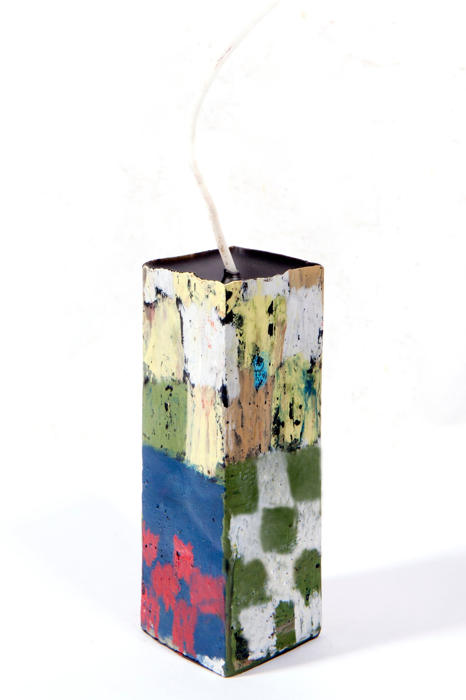 Image of Mid Stack Tower in navy, olive, yellow, taupe, white, light brown, magenta and red