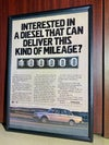 Volvo diesel delivers this mileage  framed ad 8 1/4 x 11 3/4