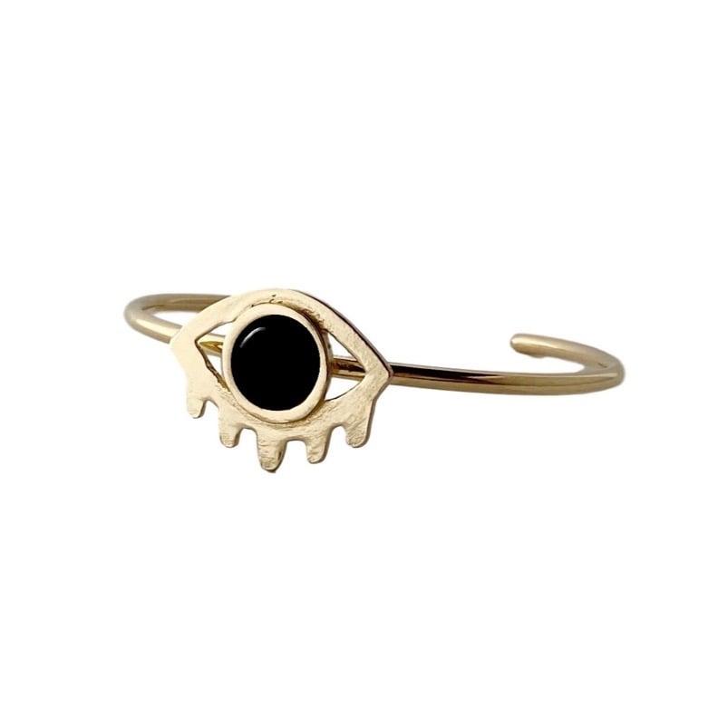 Image of Large Eye with Lashes Bracelet with Black Onyx