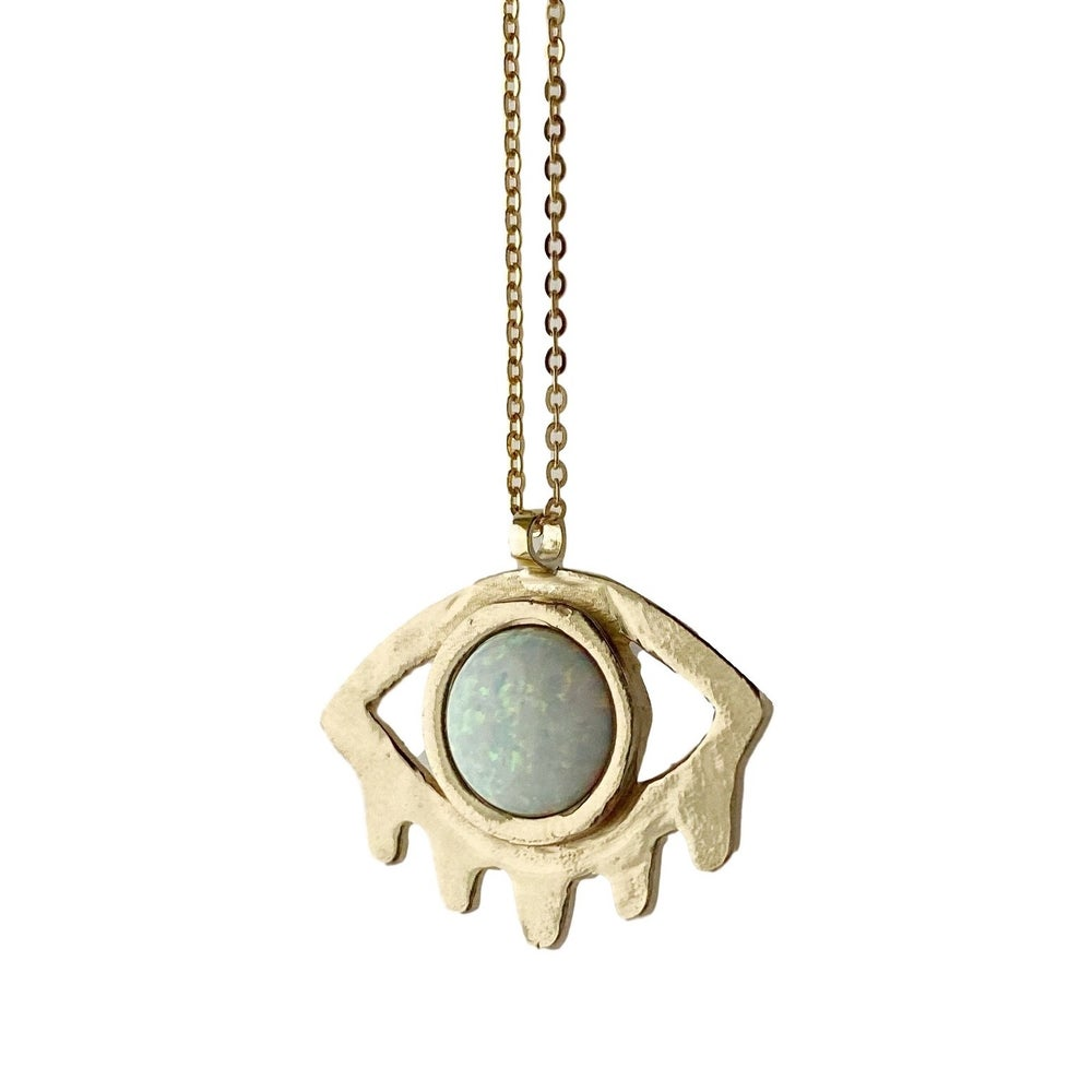 Image of Large Eye with Lashes Necklace with Opal