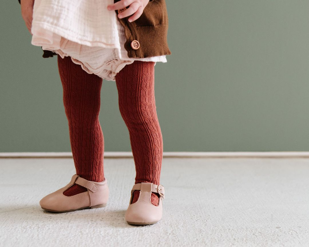 Image of Rust Cable Knit Tights